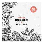 Fast food burger design template Linear graphic Snack collection Junk food Engraved illustration Vector illustration