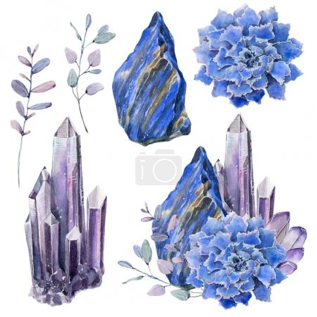 Watercolor set with gemstones and succulents.