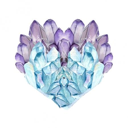 watercolor gemstone heart.