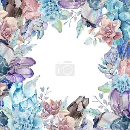 watercolor gemstones and succulents background.