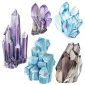 Watercolor set with gemstones.