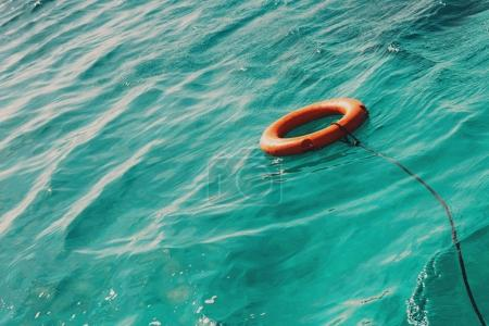 Life buoy in the sea