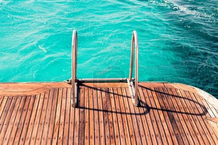 Ladder of sailing yacht to the sea