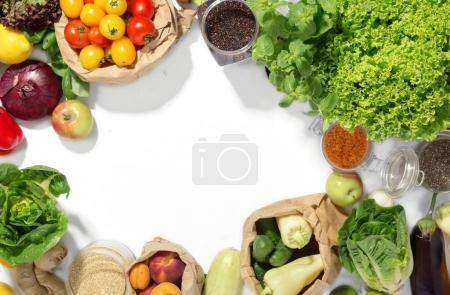 Frame of set of ingredients for healthy food