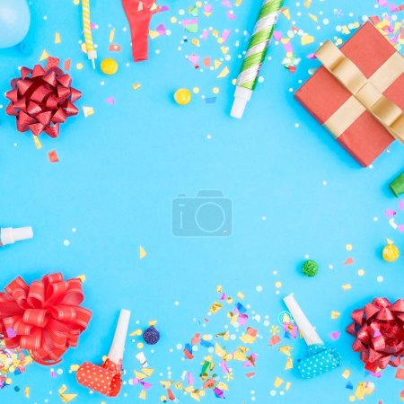 Colorful celebration pattern with various party confetti, balloo