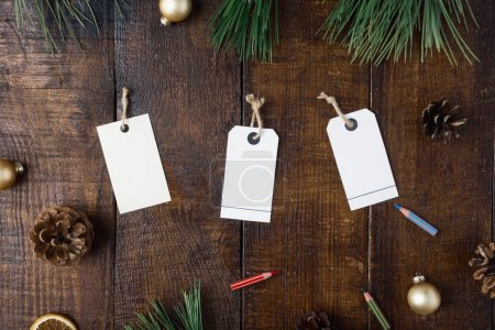 Price tags and Christmas decorations