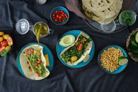 Photo for Vegetarian pita with variety fillings, top view. Healthy vegetarian food concept - Royalty Free Image