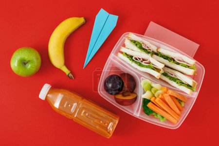 healthy lunch boxes with sandwiches and fresh vegetables, bottle of juice and paper plane on red background