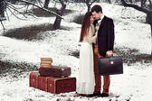 Loving couple with suitcases in winter park