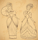 Beautiful women in vintage dress and hairstyle n Baroque style. Hand drawn vector illustration