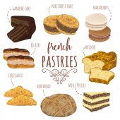 French pastries collection Brioche macaroons croissants herb bread eclairs paris brest ganache mille feuille cakes Isolated elements Hand drawn vector illustration in watercolor style