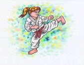 """Постер, картина, фотообои """"Karate Kids -kicking girl (The Power of Karate-Do, 2017)"""""""