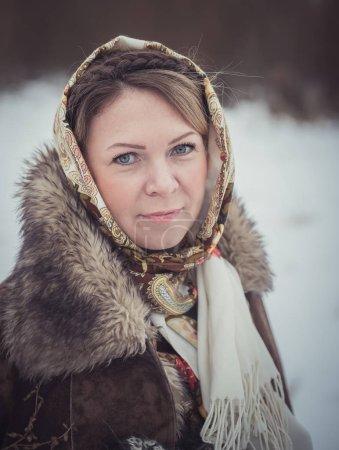 Beautiful Russian woman in a scarf...