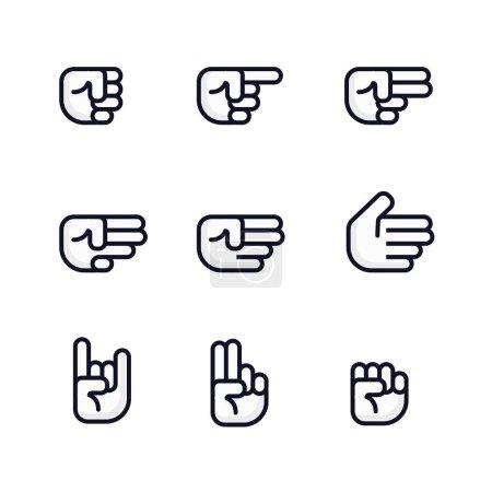 Photo pour Dessin animé mains mises. Différents gestes de poing. Illustration isolée. Conception de ligne plate - image libre de droit