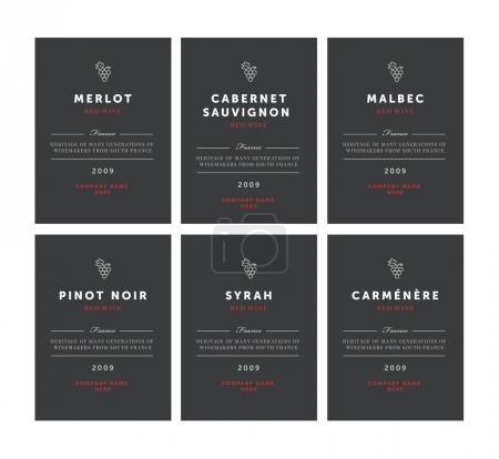 Rotweinetiketten. Premium-Vorlagenset. sauberes und modernes Design. Pinot Noir, Malbec, Cabernet Sauvignon, Merlot, Syrah, Carmenere.