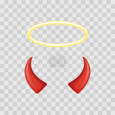 Illustration for Angel halo and devil horns isolated on transparent checkered background. Vector illustration - Royalty Free Image