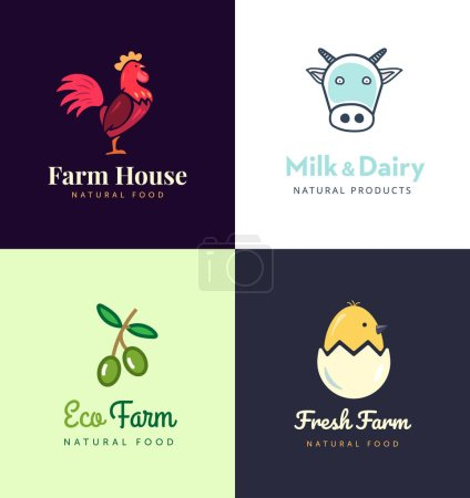 Fresh farm logos set. Vector labels for business with products from chicken meat, milk, dairy, eggs and olives.