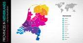 Vector map of Netherlands province beautiful colours