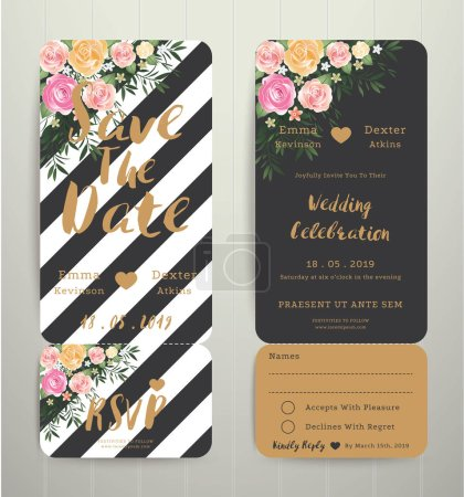 Illustration for Modern wedding invitation black and white stripes background save the date card with rsvp set, modern style - Royalty Free Image