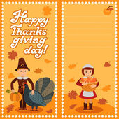 Thanksgiving day card with congratulations children vector illustration