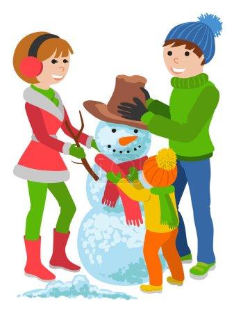 Illustration pour Portrait de famille de père, mère et fille faisant bonhomme de neige et s'embrassant, illustration vectorielle de dessin animé isolée sur fond blanc. Joyeux, heureux famille en vêtements d'hiver avec un bonhomme de neige - image libre de droit