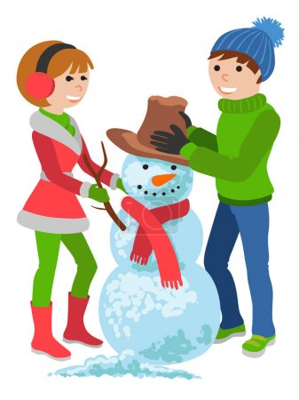 Illustration pour Illustration vectorielle de bande dessinée isolée sur fond blanc. Joyeux, heureux couple en vêtements d'hiver avec un bonhomme de neige - image libre de droit