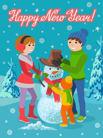 Illustration pour Père de famille, mère et fille faisant bonhomme de neige et s'embrassant, illustration vectorielle de dessin animé. Joyeux, heureux famille en vêtements d'hiver avec un bonhomme de neige et lettrage félicitations . - image libre de droit