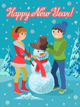 Illustration pour Illustration vectorielle de bande dessinée couple heureux de jeunes sculpte bonhomme de neige. Carte de voeux nouvelle année . - image libre de droit