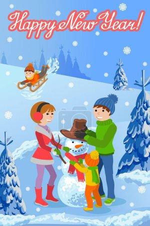 Illustration pour Illustration vectorielle de la carte de félicitations de la nouvelle année sur le paysage hivernal famille heureuse sculpte bonhomme de neige, luge, parents et enfants. Sapins dans la neige, lettrage texte manuscrit . - image libre de droit