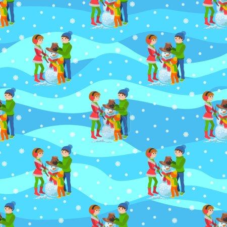 Illustration pour Illustration vectorielle d'un arrière-plan homogène famille heureuse jouant en hiver sculpte bonhomme de neige marchant en plein air . - image libre de droit