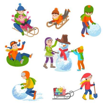 Illustration pour Illustration vectorielle d'enfants jouant dans la rue en hiver. Les enfants sculptent bonhomme de neige, chevauchant les collines sur des traîneaux, des tubes, joyeux. Modèle isolé sur fond blanc . - image libre de droit