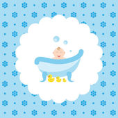 Baby in the bath with a rubber ducks Flat vector illustration on floral pattern Can be used for design greeting card invitation or banner All the elements can be used as icons for mobile