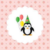 Penguin in the cap and with balloons Flat vector illustration on floral pattern Can be used for design greeting card invitation or banner All the elements can be used as icons for mobile