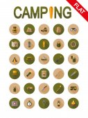 Camping Icon set for web and mobile application Vector illustrations on a buttons with a long shadow Flat design style
