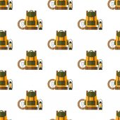 Backpack rope carbine lantern Seamless pattern