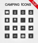 Camping icons set Icon Vector Flat