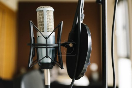 Studio microphone in studio home.