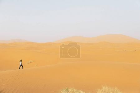 Gold desert in sunset.