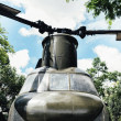 Military helicopter at a base. War Concept....