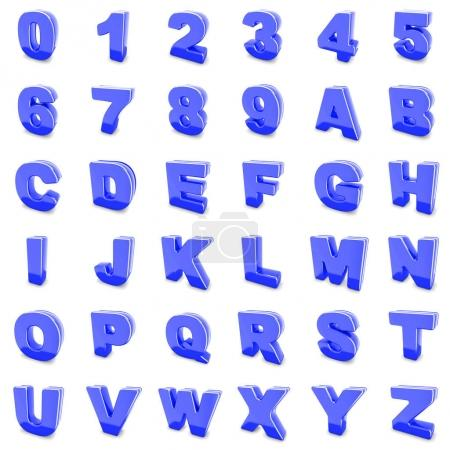 blue metal numbers and letters isolated.