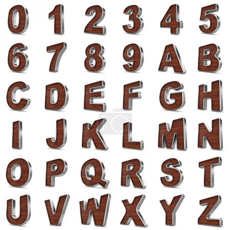 3d Wood and Metal material numbers and letters.