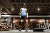 Portrait of disabled young in the gym.