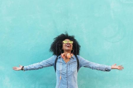 Portrait of beautiful afro american woman having fun.
