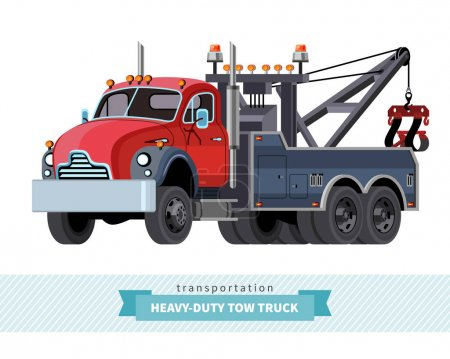 Classic heavy duty tow truck front side view
