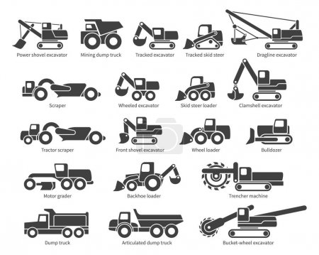 Construction machinery vector icons set