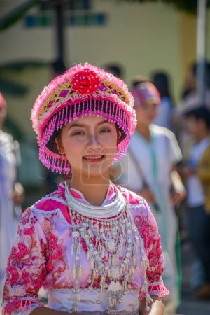 Hill Tribe girl with local traditional costume  in parade