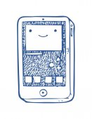 Happy mobile phone icon