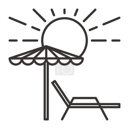 Sunbed with umbrella simple icon, vector illustrat...
