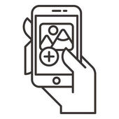Hand with mobile phone icon