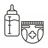 Diaper and milk bottle icons vector illustration